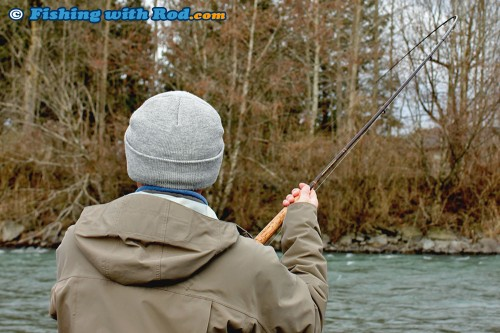 Fighting a winter steelhead