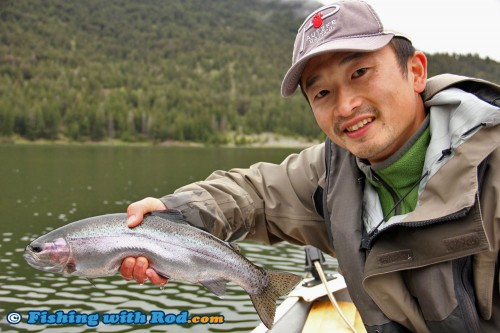 Holding a beautiful rainbow trout