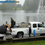Go Fish BC truck arrived at Lafarge Lake for fish release