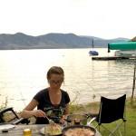 Enjoying a dinner while waiting for carp