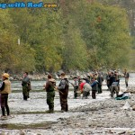 Crowded fishing spot at Chilliwack River