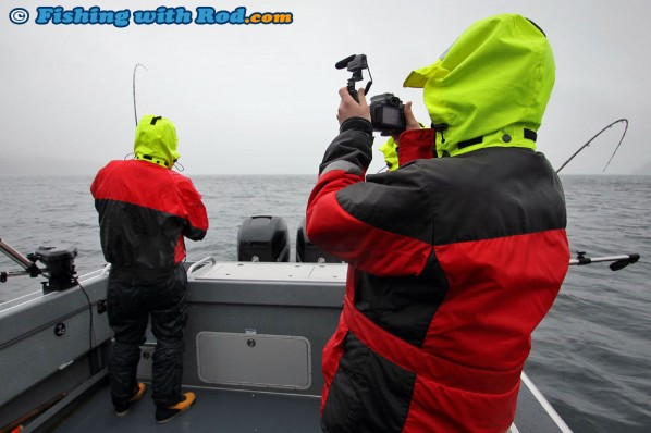 Fighting a Chinook Salmon in Barkley Sound