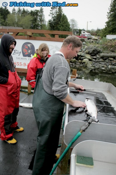 Cleaning our Catches at Big Bear Salmon Charters