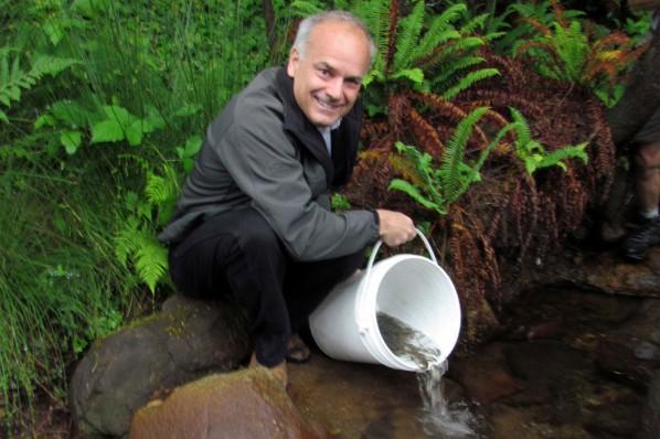 Coquitlam Mayor Richard Stewart Releases Salmon Fry into Hyde Creek