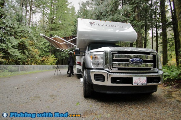 Filming in the rain, Fraserway RV's motorhome made it easier!