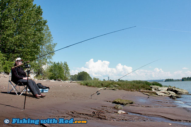 Dump bar richmond tidal fraser river fishing with rod for River fishing pole